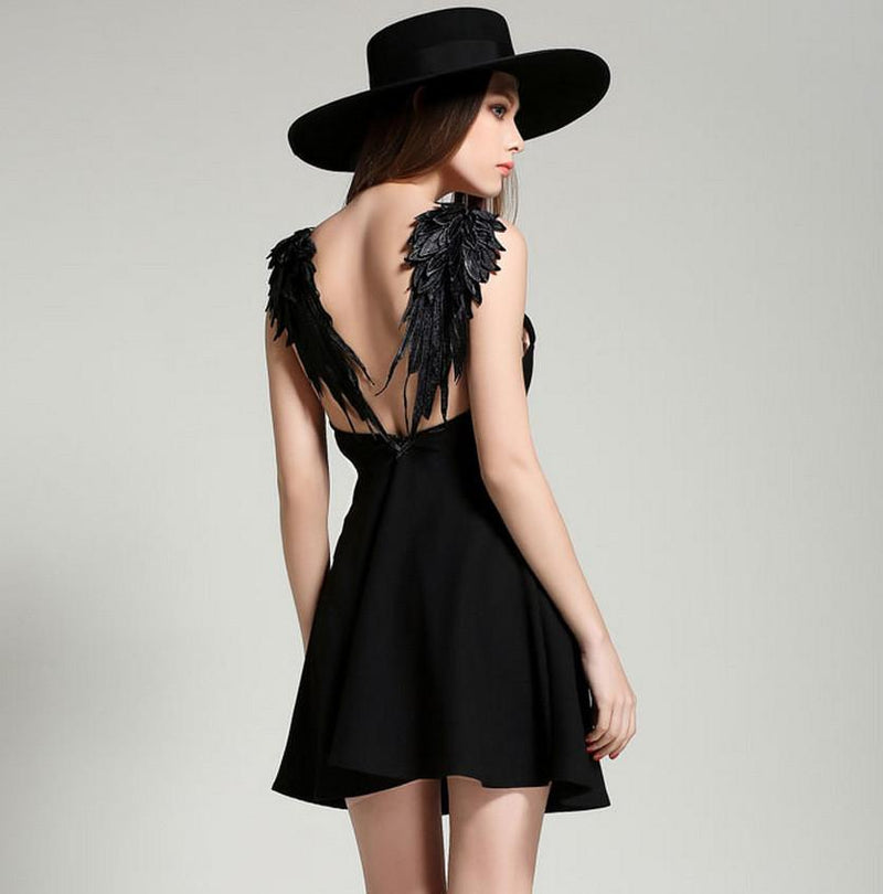 Spaghetti Strap Lace Wings Backless Sleeveless Short Dress - Shoes-Party - 2