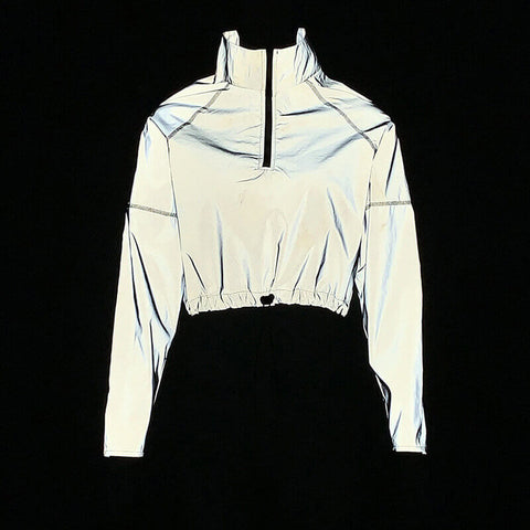 Reflective Drawstring Hem Cropped Jacket