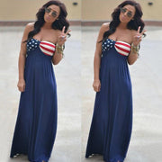 Strapless American Flag Print Long Dress - Shoes-Party - 4