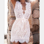 White Deep V-neck Sleeveless Lace Short Dress - Shoes-Party - 1