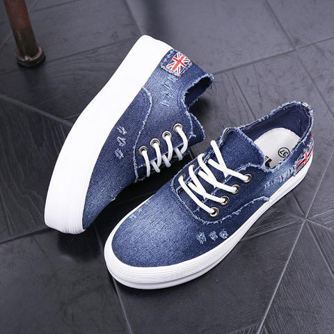 Washed Denim Sponge Lazy Single Casual Sneakers - Oh Yours Fashion - 5