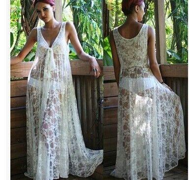 Transparent V-neck Lace Long Dress Bikini Cover UP - Shoes-Party - 1