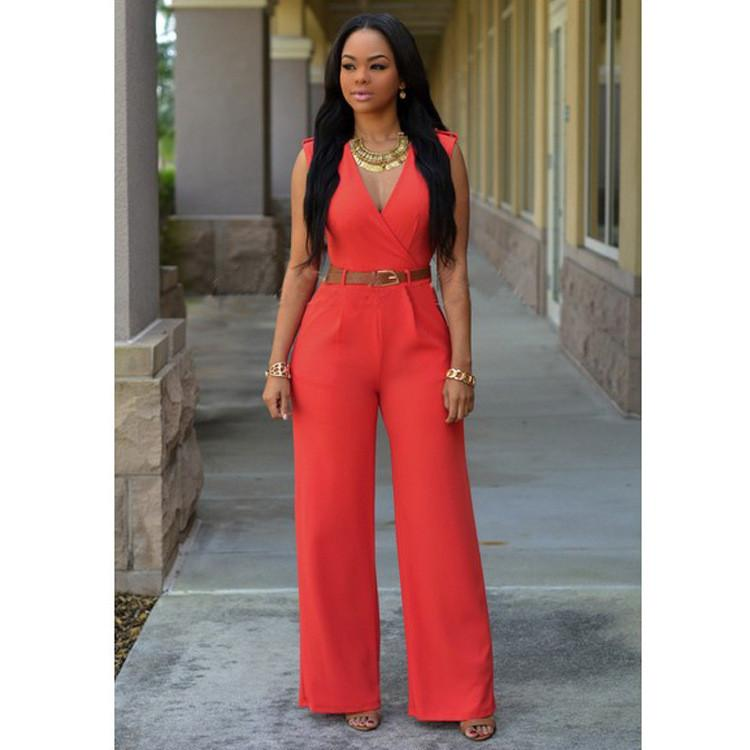 Irregular V-neck Sleeveless Wide Leg Pants Belt Long Jumpsuits - Meet Yours Fashion - 9