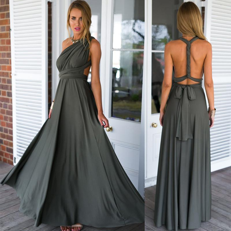 Back Cross V-neck Bandage Floor Length Prom Dress - Shoes-Party - 5
