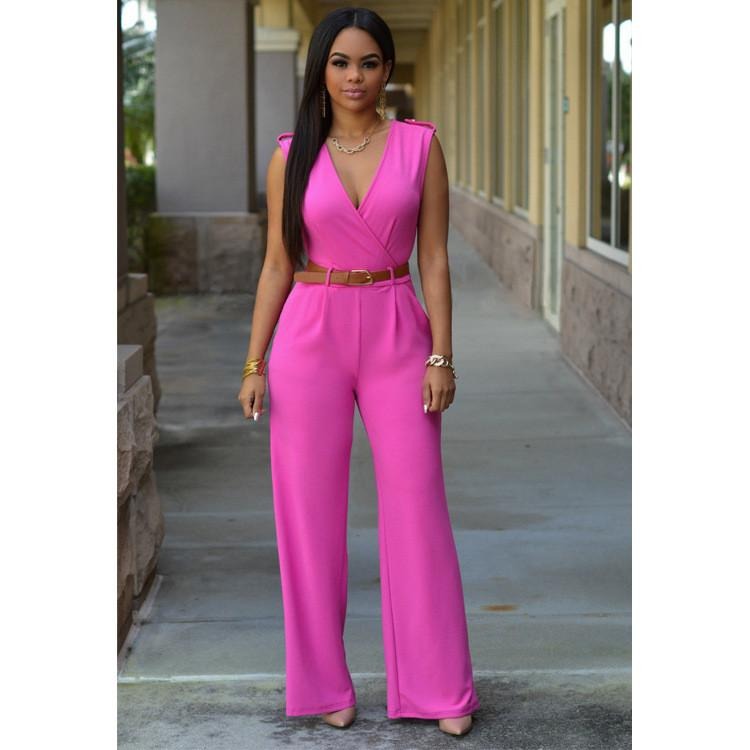 Irregular V-neck Sleeveless Wide Leg Pants Belt Long Jumpsuits - Meet Yours Fashion - 10