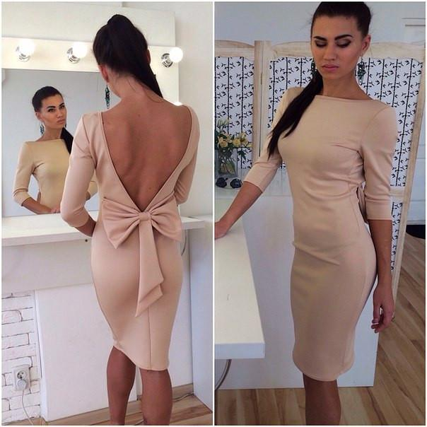 Bowknot Backless Bodycon Knee-length Dress - Meet Yours Fashion - 4