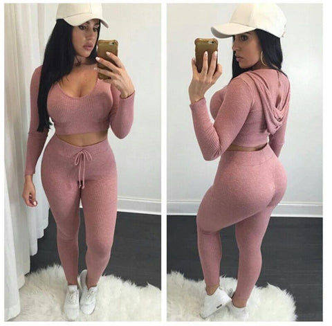 Hooded Crop Top Slim Pant Pure Color Two Pieces Set