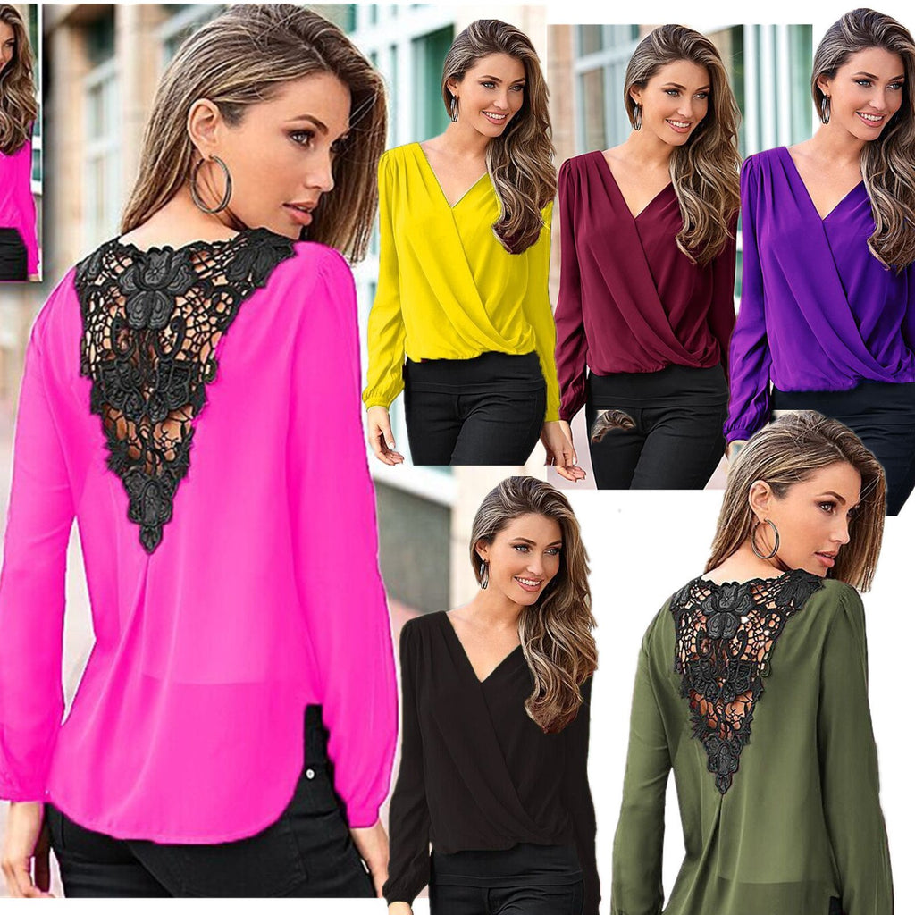 Backless Lace Patchwork V-neck Long Sleeves Chiffon Blouse - Bags in Cart - 2