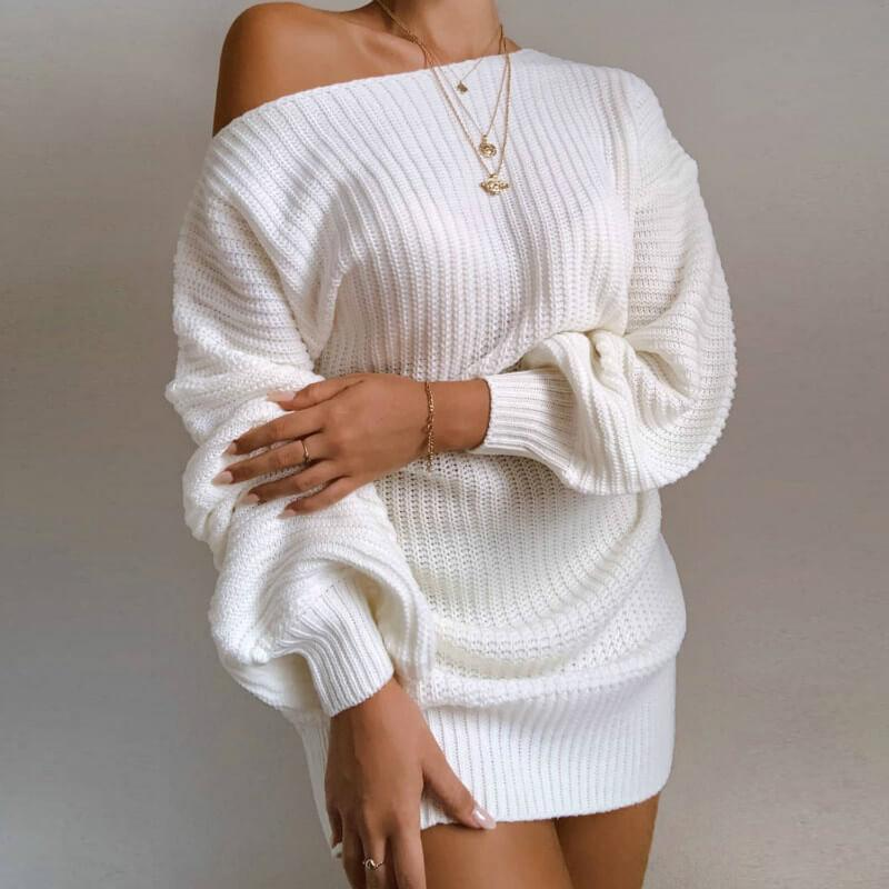 Ribbed Lantern Sleeve Knitted Short Dress