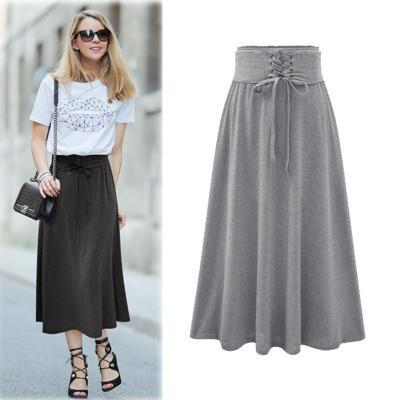 Lace Up Elastic Solid Pleated Long Skirt - Bags in Cart - 2