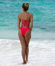 Strapless Lace Up Bandage Back Sexy One Piece Swimwear