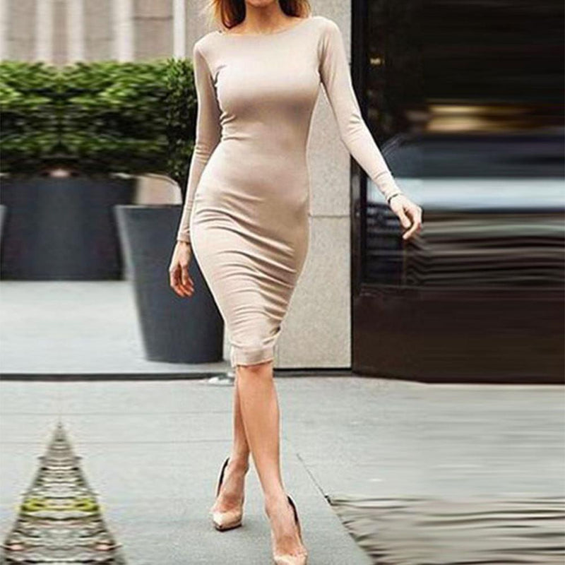 Pure Color Slim Backless Long Sleeve Long Dress - Shoes-Party - 4