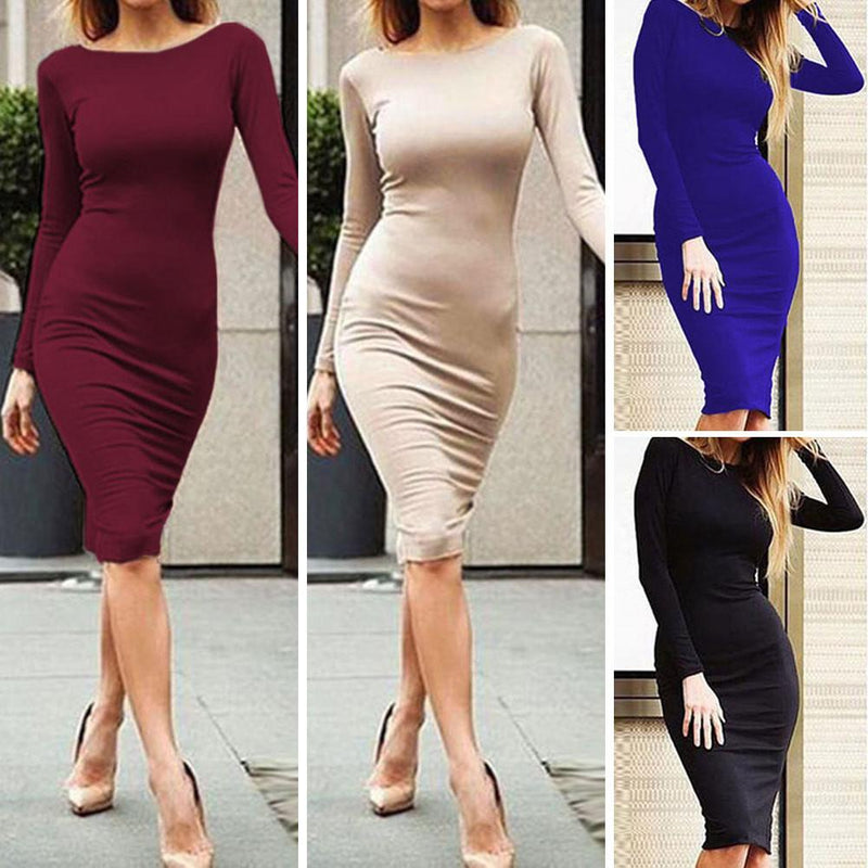 Pure Color Slim Backless Long Sleeve Long Dress - Shoes-Party - 8