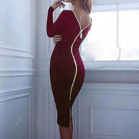 Pure Color Slim Backless Long Sleeve Long Dress - Shoes-Party - 6
