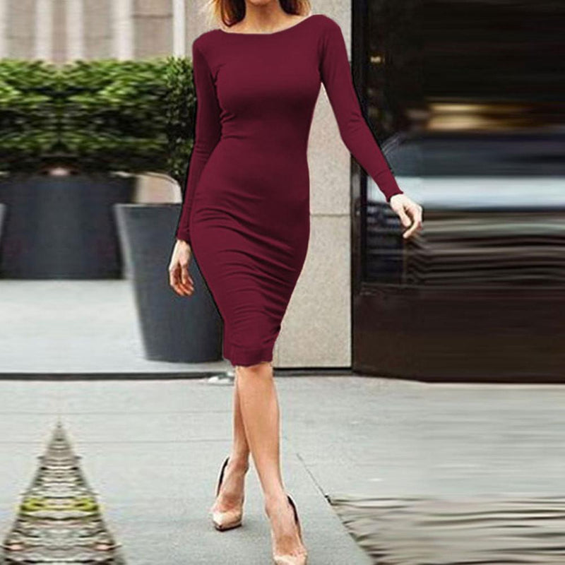 Pure Color Slim Backless Long Sleeve Long Dress - Shoes-Party - 7