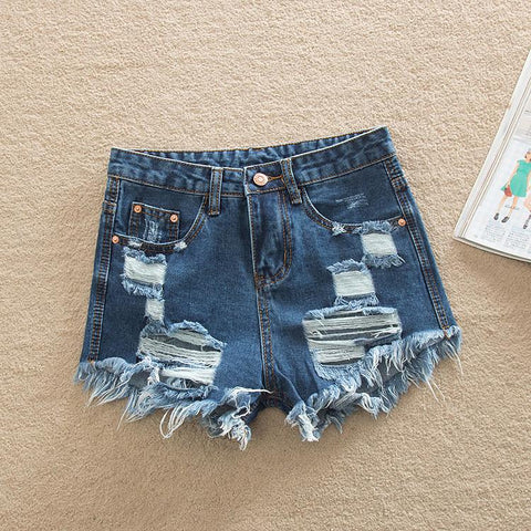 Holes Rough Edges Plus Size Cool High Waist Denim Short