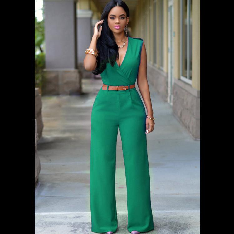 Irregular V-neck Sleeveless Wide Leg Pants Belt Long Jumpsuits - Meet Yours Fashion - 6