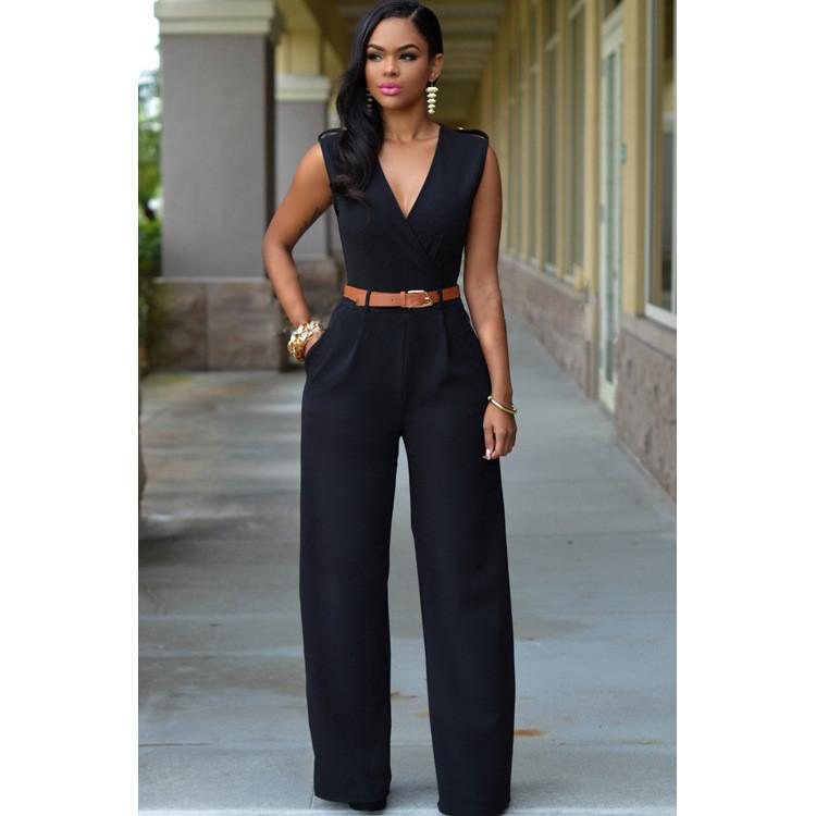 Irregular V-neck Sleeveless Wide Leg Pants Belt Long Jumpsuits - Meet Yours Fashion - 3