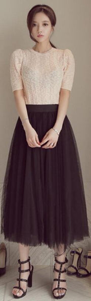 High Waist Pure Color Mesh Pleated Long Skirt
