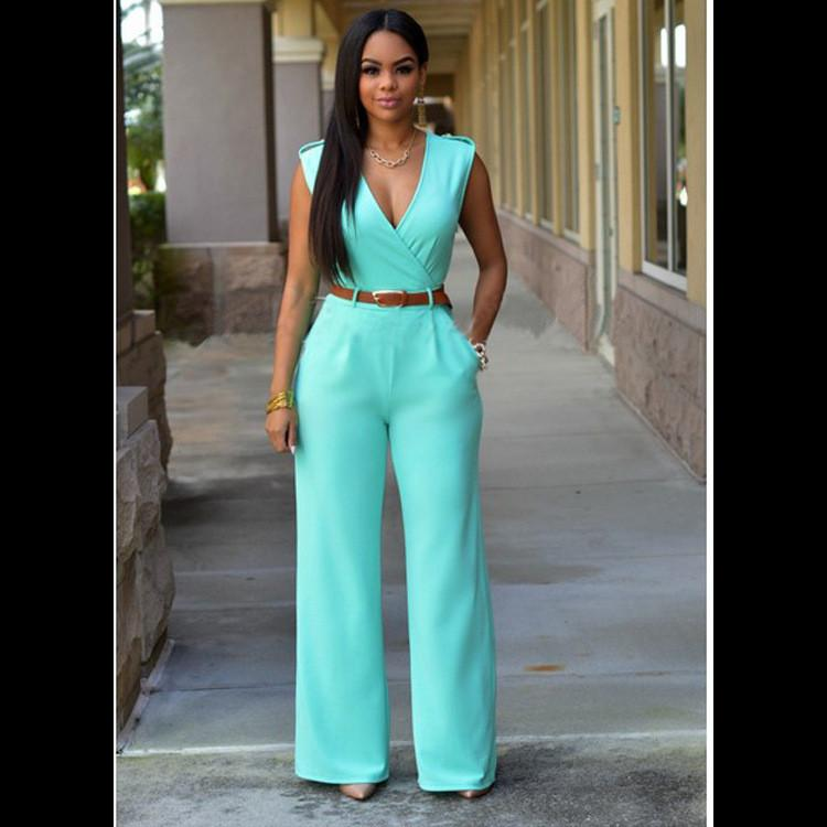 Irregular V-neck Sleeveless Wide Leg Pants Belt Long Jumpsuits - Meet Yours Fashion - 12