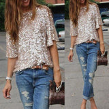1/2 Sleeves Sequin Casual Loose Sexy Club Blouse - Bags in Cart - 2