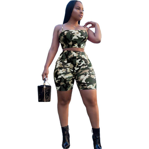 Spaghetti Straps Crop Top Camouflage Shorts Set