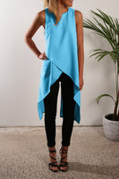 Irregular Strap Pure Color Chiffon Crossover Blouse - Bags in Cart - 4