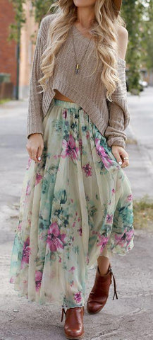 Bohemian Flower Print Wide Flare Maxi Skirt - Meet Yours Fashion - 1