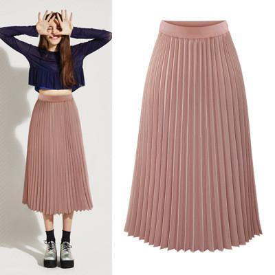 Solid Pleated Long Slim Skirt - Bags in Cart - 2