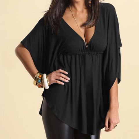 Deep V-neck Loose Drop Hem Pure Color Plus Size Blouse