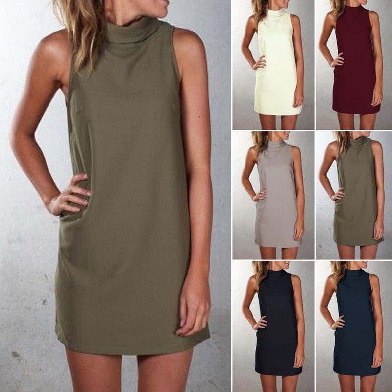Pure Color Sexy O-neck Sleeveless Short Dress - Shoes-Party - 2