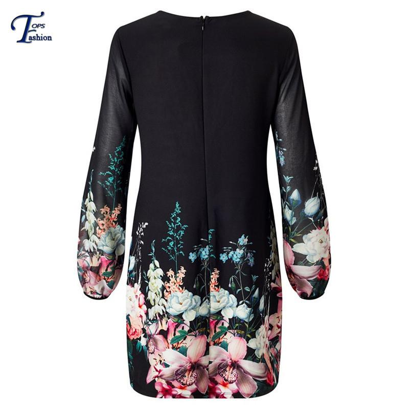 Chiffon Print Scoop Long Sleeves Short Dress