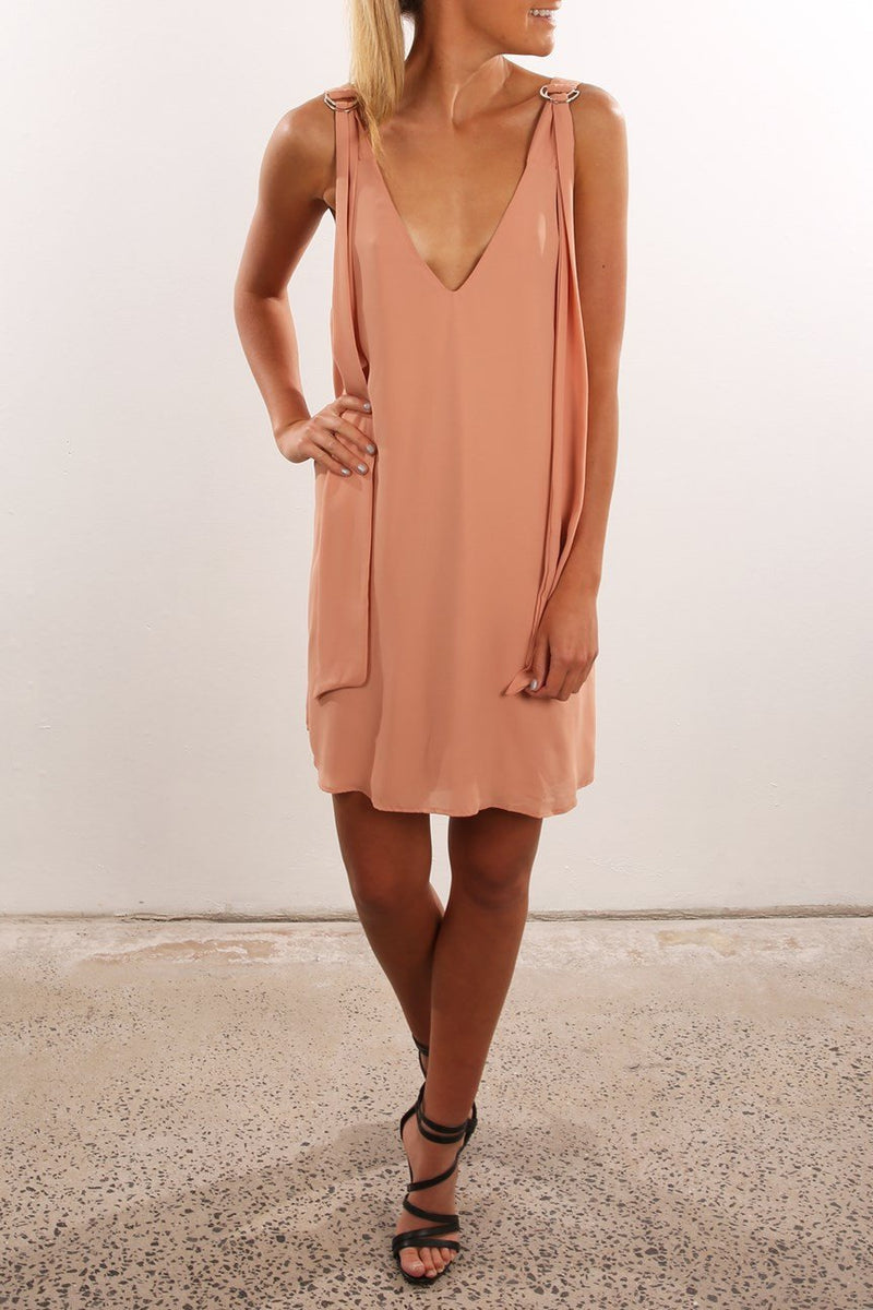 Backless Pure Color Sleeveless V-neck Irregular Short Dress - Meet Yours Fashion - 4