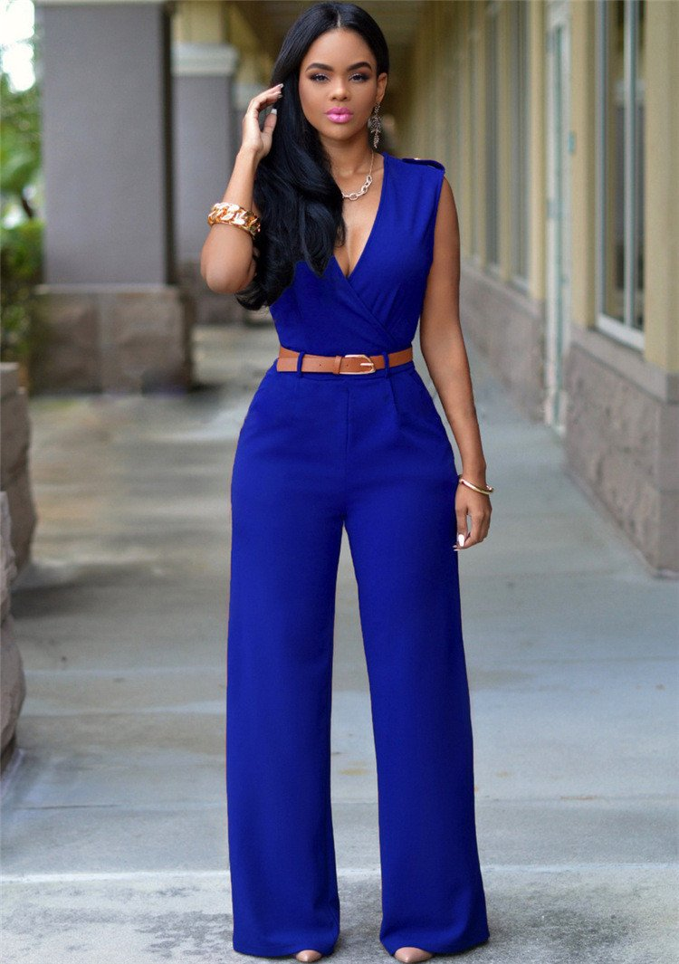 Irregular V-neck Sleeveless Wide Leg Pants Belt Long Jumpsuits - Meet Yours Fashion - 11