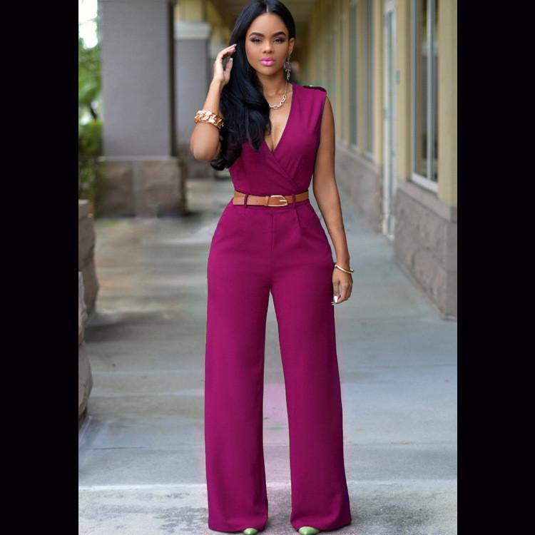 Irregular V-neck Sleeveless Wide Leg Pants Belt Long Jumpsuits - Meet Yours Fashion - 14