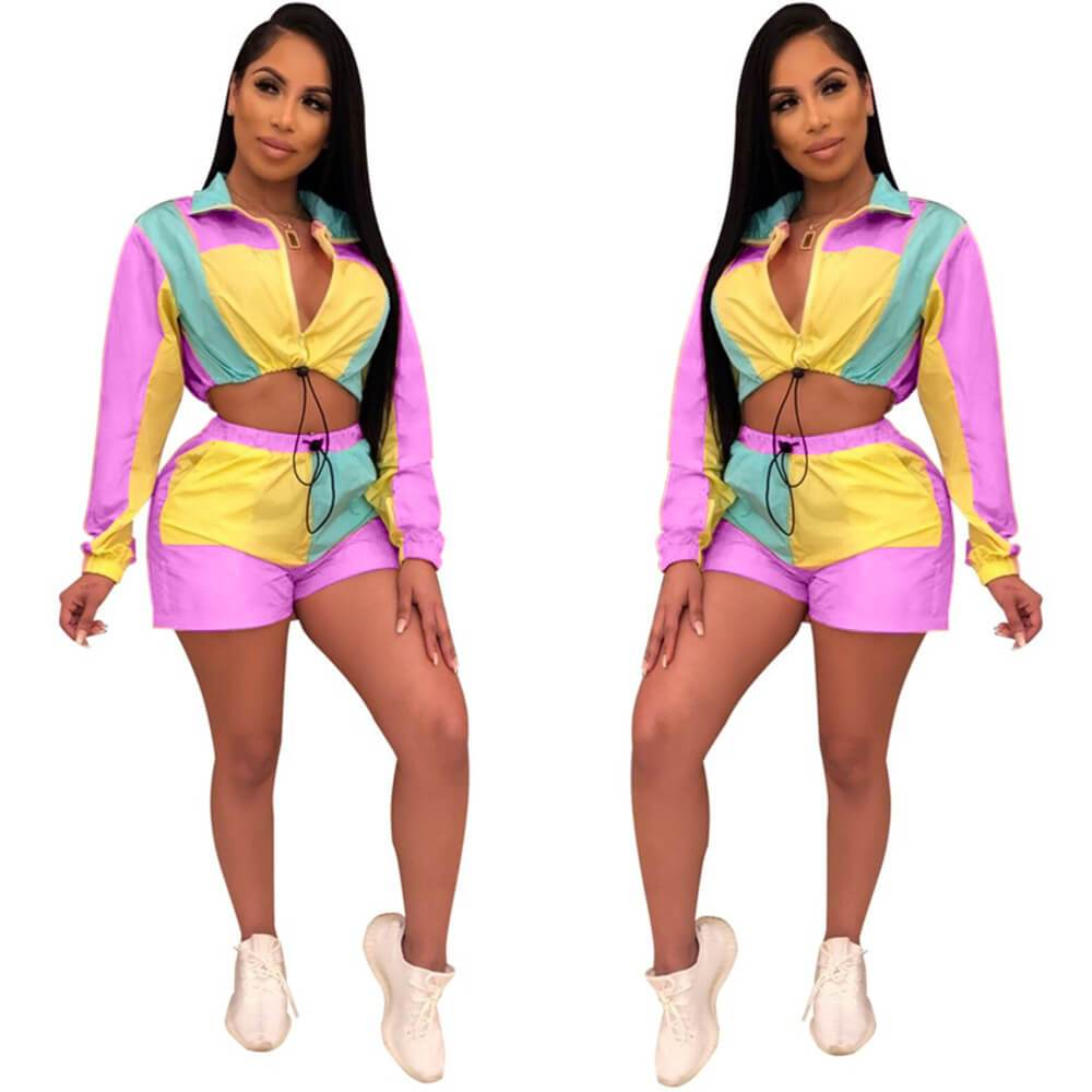 V-neck Crop Top High Waist Patchwork Shorts Set