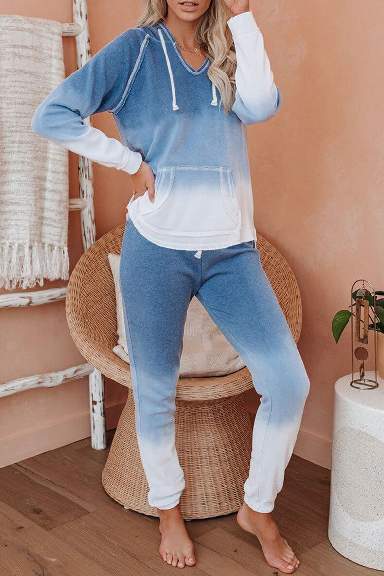 Casual Gradient Loose High Waist Long Sleeve Hooded Two Pieces Set