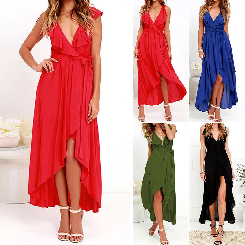 Chiffon Deep V-neck Sleeveless Irregular Long Dress - Shoes-Party - 2