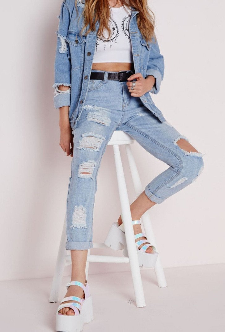 Sexy Cut Out Straight Beggar Jeans - Meet Yours Fashion - 2