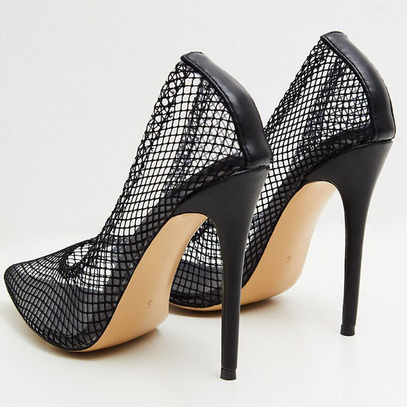 Sexy Mesh Cutout Pointed Toe Stiletto Heel Pumps