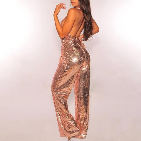 Sleeveless Sequin Wide Leg V Neck Halter Jumpsuits