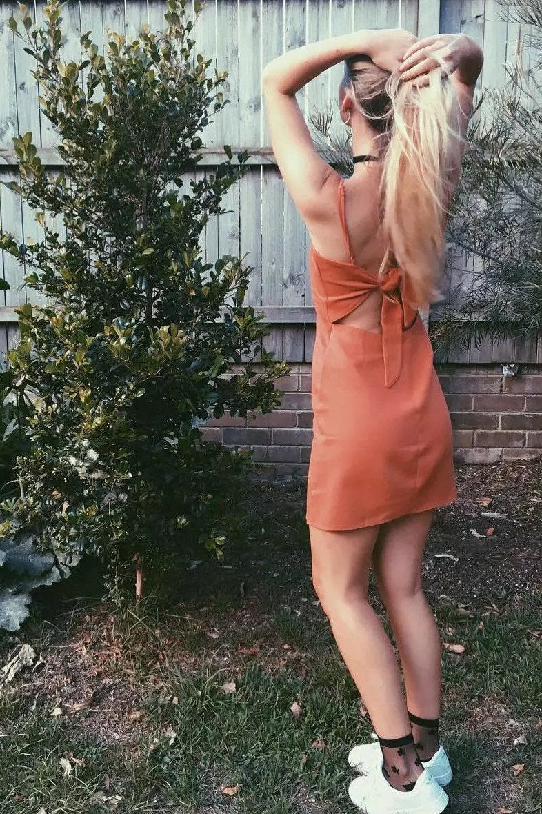 Pure Color Spaghetti Straps Sleeveless Backless Short Dress