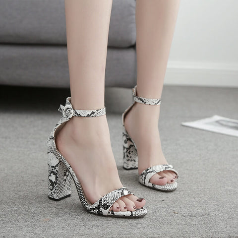 Leather Snakeskin High Chunky Heel Sandals