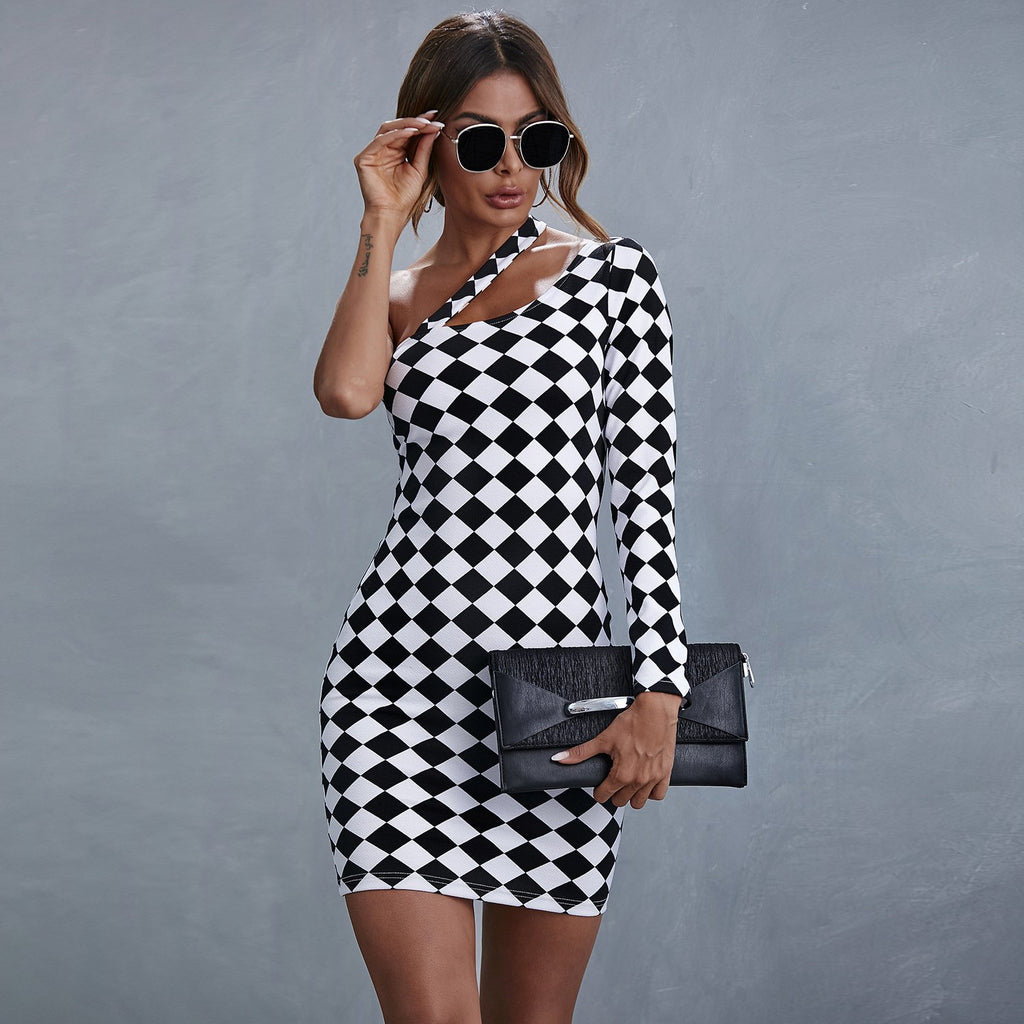 One Shoulder A-swing Checkerboard Dress