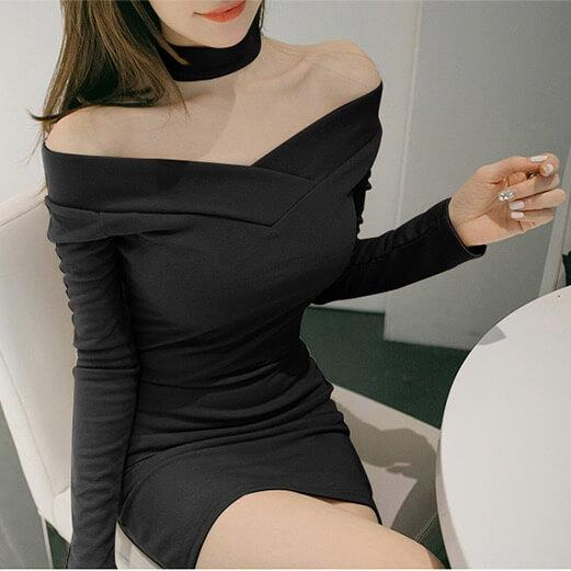 Sexy Bear Shoulder Deep V-neck Irregular Short Dress