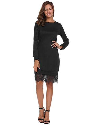 Pure Color Round neck Long Sleeves  Lace  Party Dress