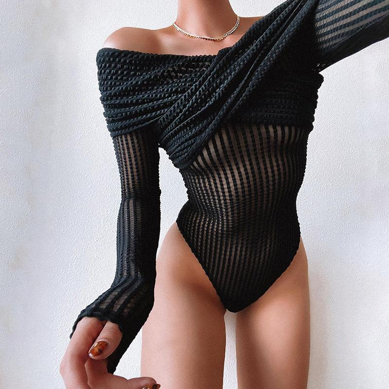 Sexy Mesh One Shoulder Long Sleeve Jumpsuit
