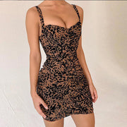 Leopard Spaghetti V-neck Backless Short Dress