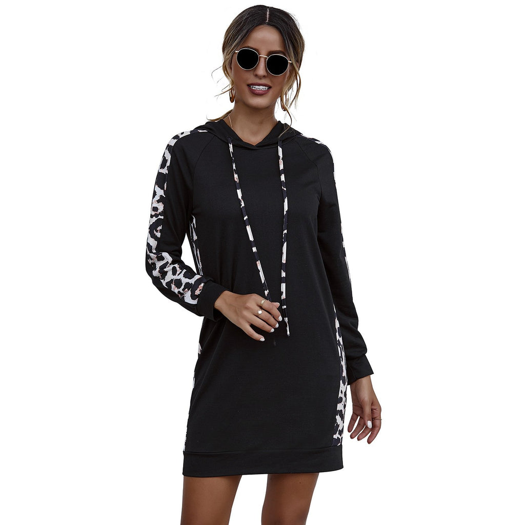 Black Hooded Leopard Side Panel Dress