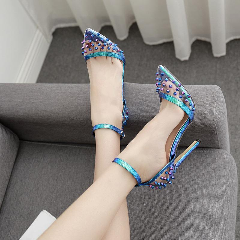 One button sexy color rivet single shoes high heels